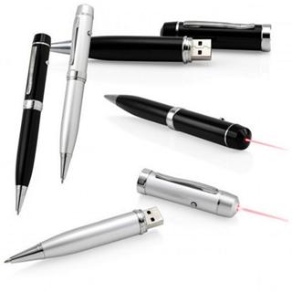 Caneta Pen Drive 8GB Preta ou Prata com Luz Laser Personalizado
