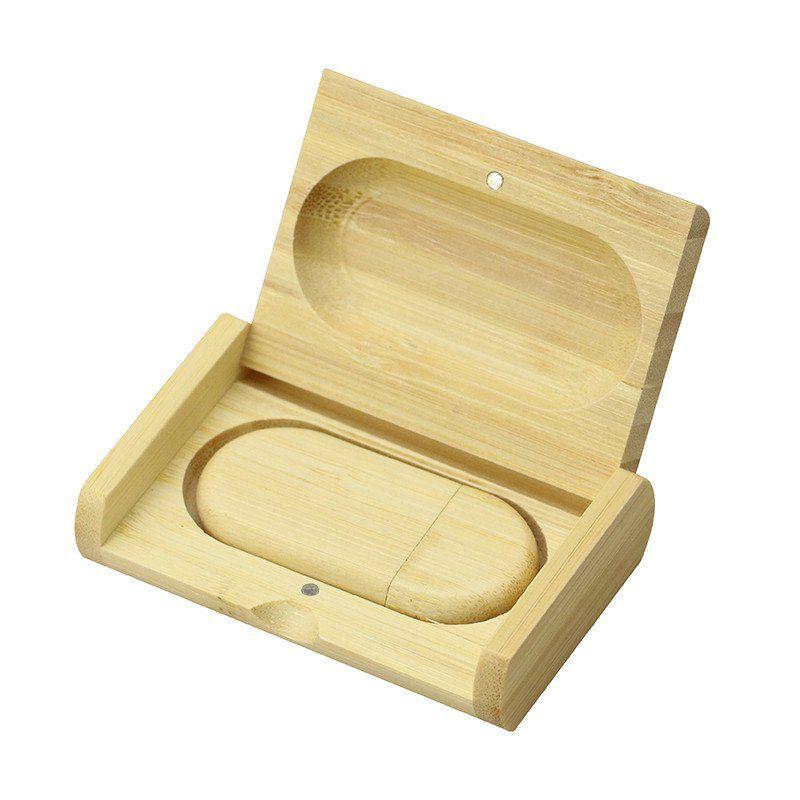Case Madeira Bambú Retangular com Pen Drive 4GB Oval Bambú