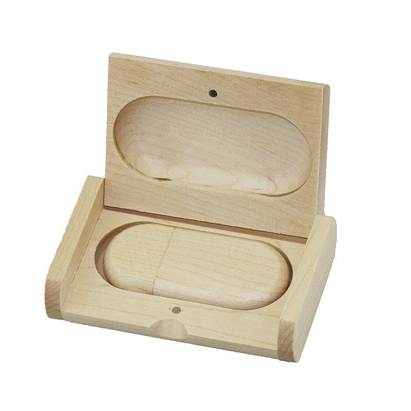 Case Madeira Maple Retangular com Pen Drive 32GB Oval Maple