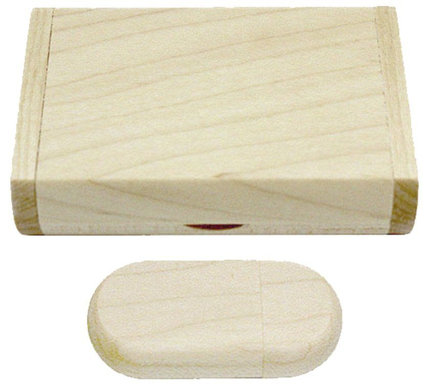 Case Madeira Maple Retangular com Pen Drive 4GB Oval Maple