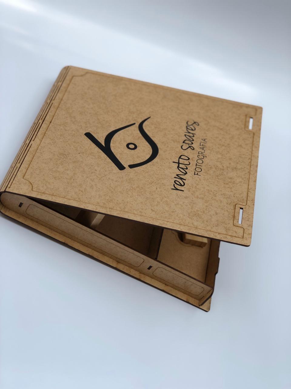 Case Madeira Memory Box Wedding 15x21 Personalizado para Pen Drive