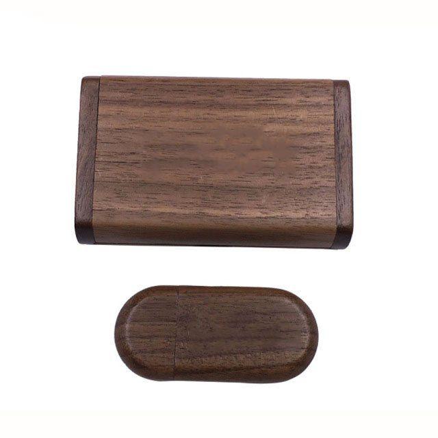 Case Madeira Tabaco Retangular com Pen Drive 32GB Oval Tabaco