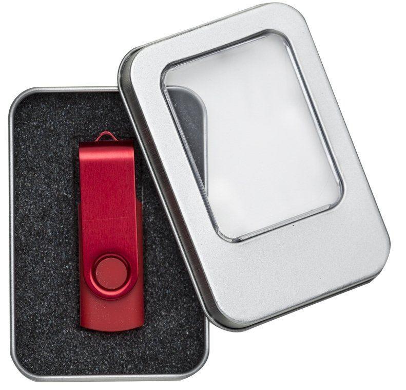 Case Metal Prata Personalizado Pequeno com Visor para Pen Drive