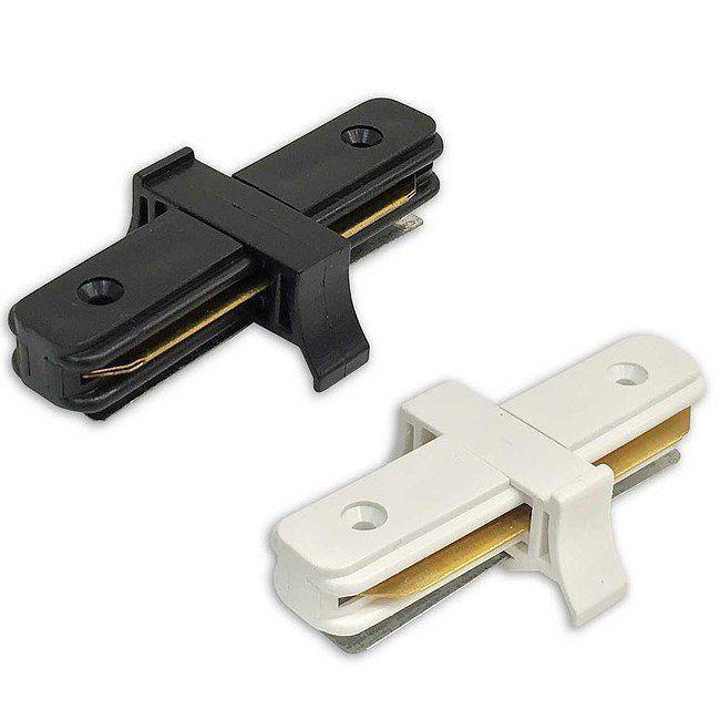 Conector Emenda Reta Preto ou Branco para Trilho Eletrificado para Spot LED