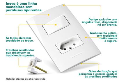 Conjunto 4x2 com 1 Interruptor Simples + 1 Tomada Padrão - Linha INOVA Alumbra - cód: 5449