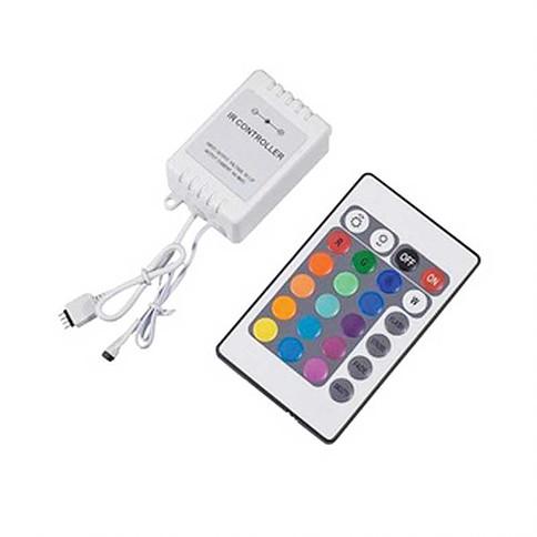 Controlador para Fita LED RGB 24 Teclas c/ Controle Remoto 12V