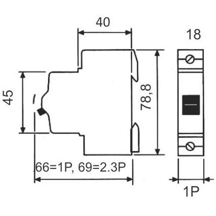 Disjuntor para uma fase (monopolar) 10A - STECK