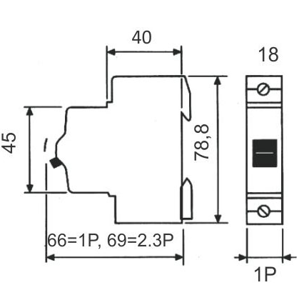 Disjuntor para uma fase (monopolar) 16A - STECK