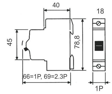 Disjuntor para uma fase (monopolar) 25A - STECK