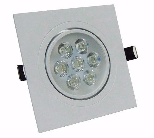 Kit 10 unidades Spot LED 7w Quadrado Luz Amarelada