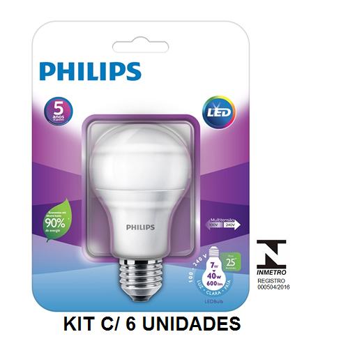 Kit C/ 6 Lâmpadas LED Bulbo Philips 7W Bivolt Certificação Inmetro