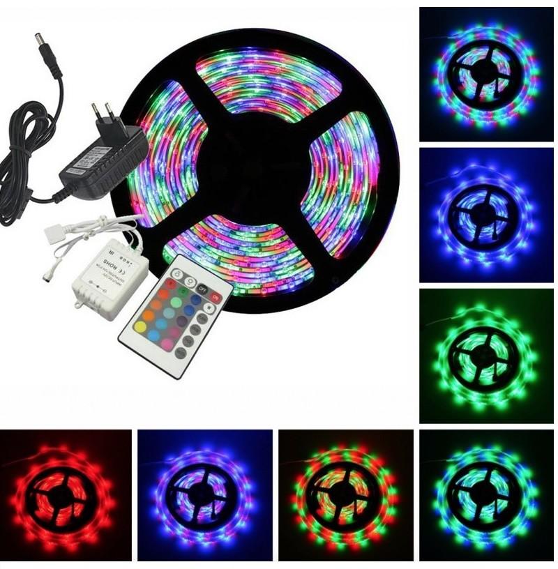 Kit Rolo 5m Fita LED RGB 3528 + Controlador + Controle + Fonte 2A 12V