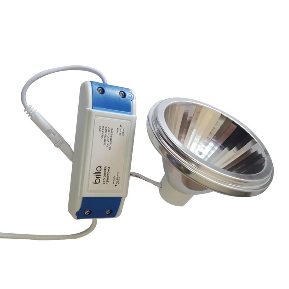 Lâmpada LED AR111 12W Branco Quente 2700K c/ Driver Externo Bivolt