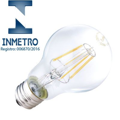 Lâmpada LED Bulbo Filamento 4W, Bivolt Com Inmetro - Brilia