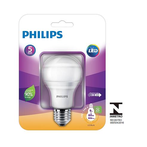 Lâmpada LED Bulbo Philips 9W E27 Bivolt Certificação Inmetro