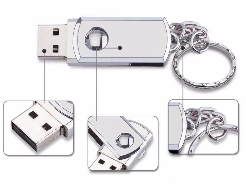 Mini Pen Drive 16GB 360º Chaveiro Personalizado Prata