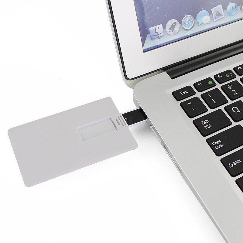 Pen Card 16GB Plástico Retangular Grande Branco Personalizado