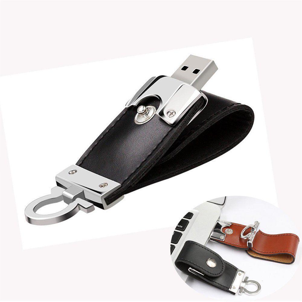 Pen Drive 16GB de Couro  Preto com Argola para utilização como Chaveiro