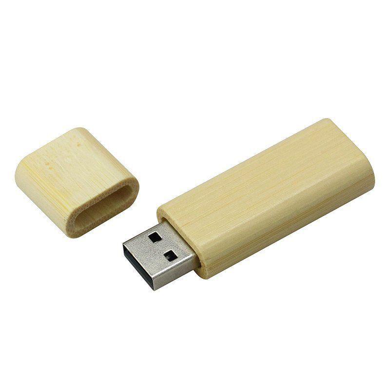 Pen Drive 16GB Retangular Arredondado Madeira Bambú Personalizado