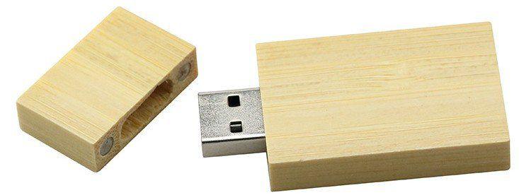 Pen Drive 16GB Retangular Largo Madeira Bambú Personalizado