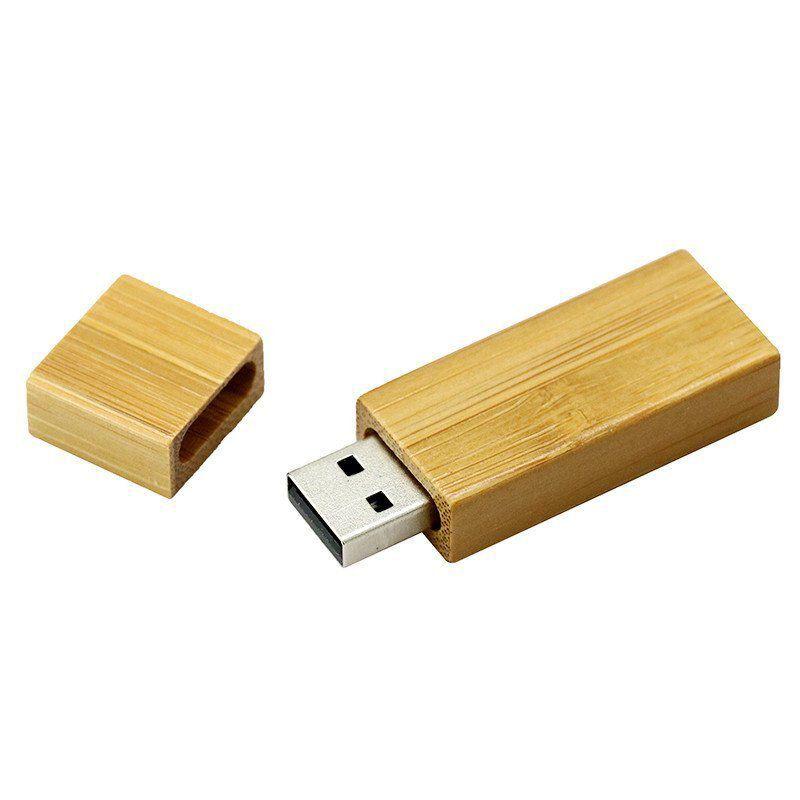 Pen Drive 16GB Retangular Madeira Bambú com Tampa Personalizado