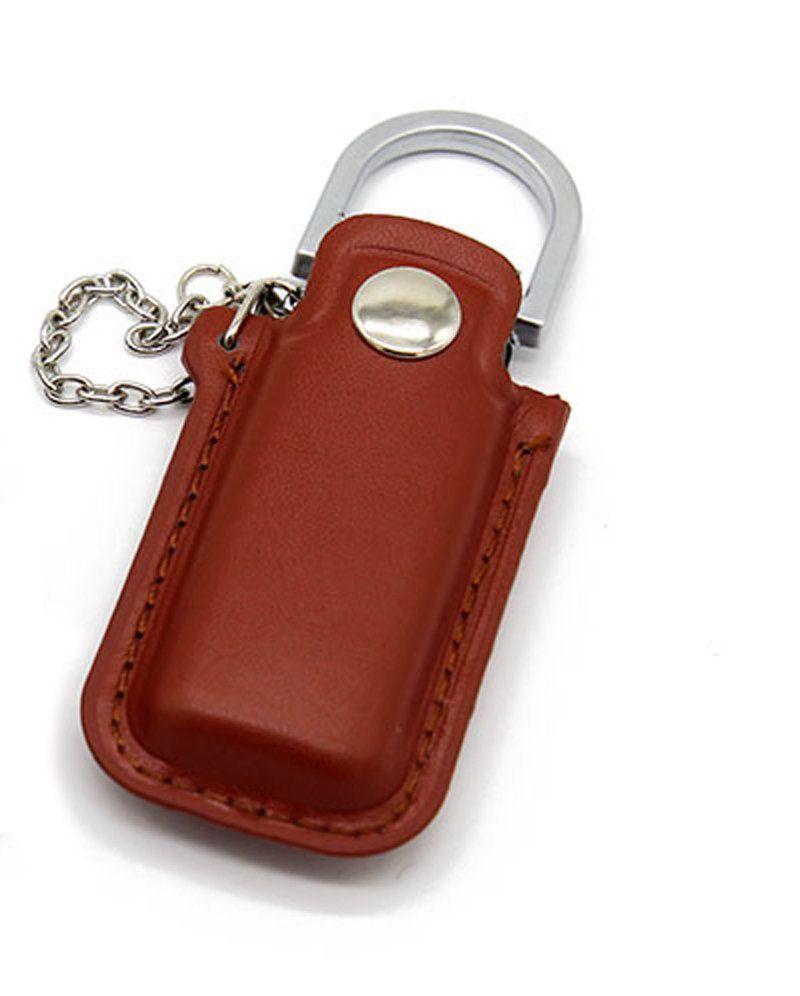 Pen Drive 32GB Couro Bag para Chaveiro Marrom Personalizado