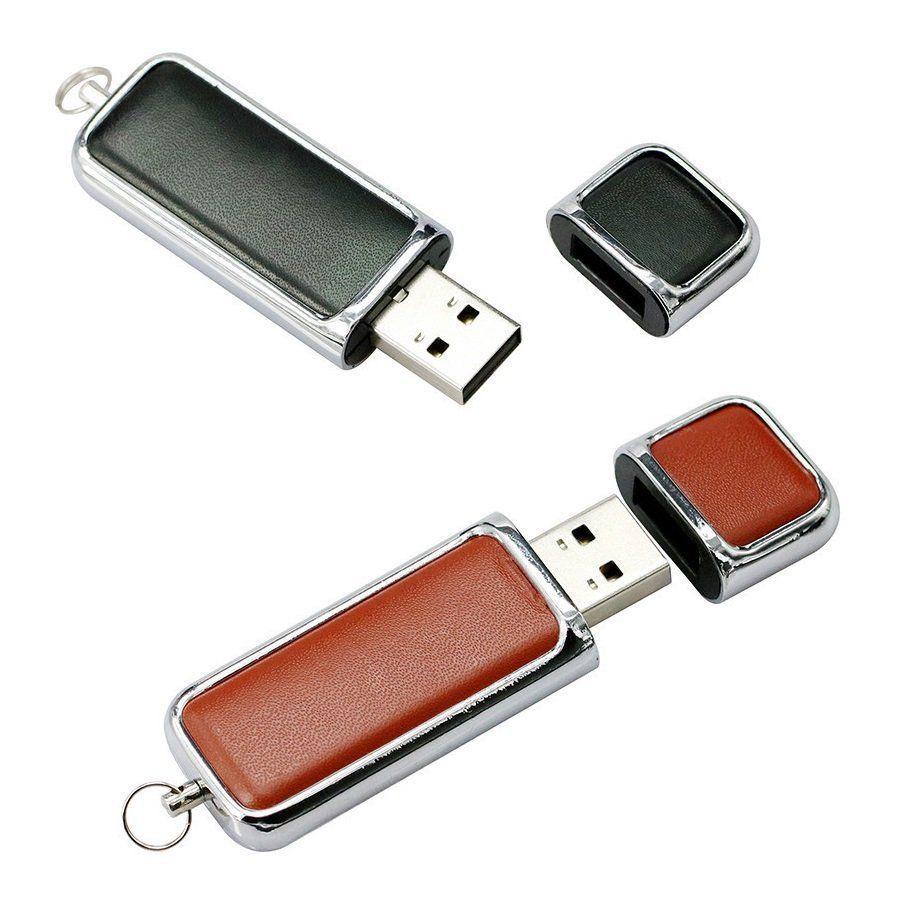 Pen Drive 32GB Couro Cap para Chaveiro Marrom Personalizado