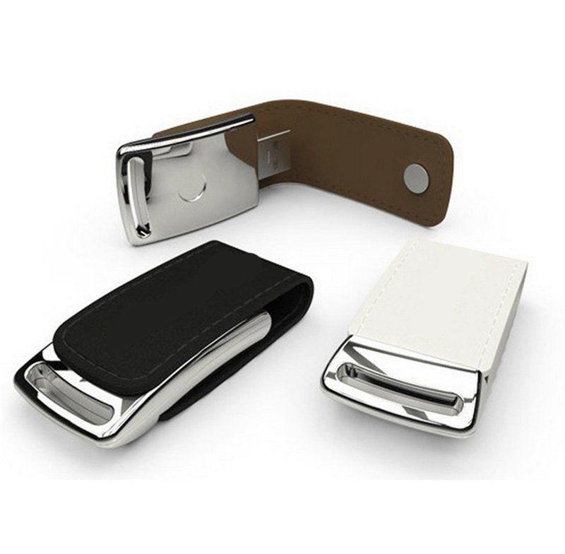 Pen Drive 32GB de Courinho Marrom Personalizado para Chaveiro
