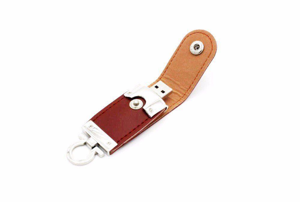 Pen Drive 32GB de Couro Marrom c/ Argola como Chaveiro