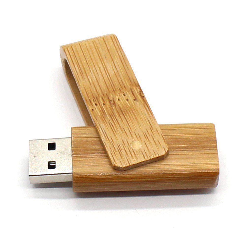 Pen Drive 32GB Madeira Giratório Bambú ou Caramelo Personalizado