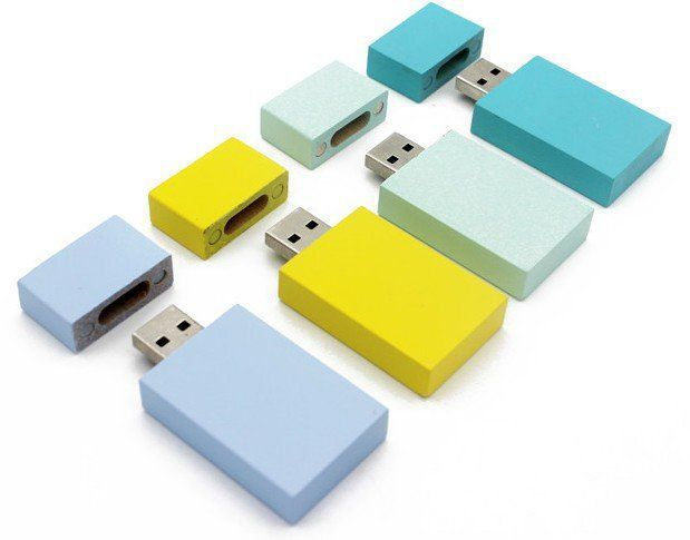 Pen Drive 32GB Retangular Largo Candy Color com Tampa Personalizado