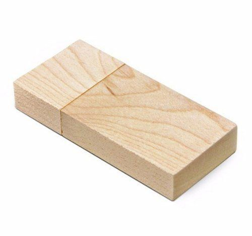 Pen Drive 32GB Retangular Largo Madeira Bambú ou Maple Personalizado