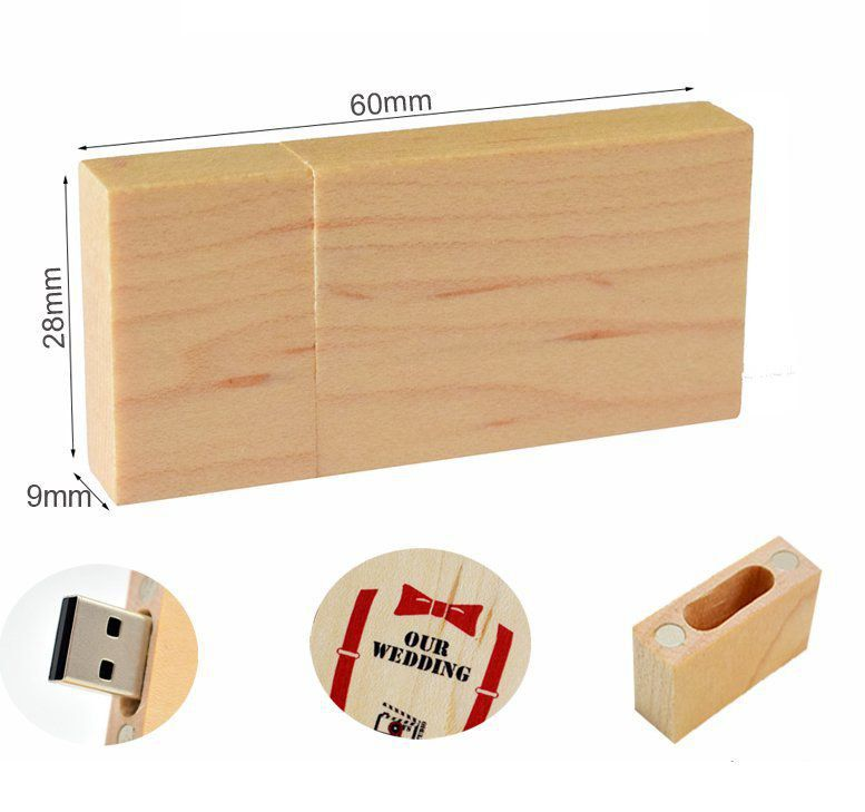 Pen Drive 32GB Retangular Largo Madeira  Maple Personalizado