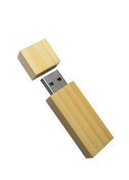 Pen Drive 32GB Retangular Madeira Bambú com Tampa Personalizado
