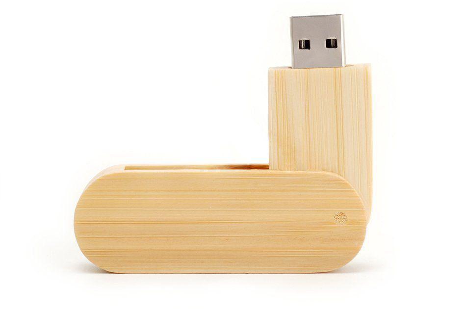 Pen Drive 4GB Canivete Jumbo de Madeira Bambu Personalizado