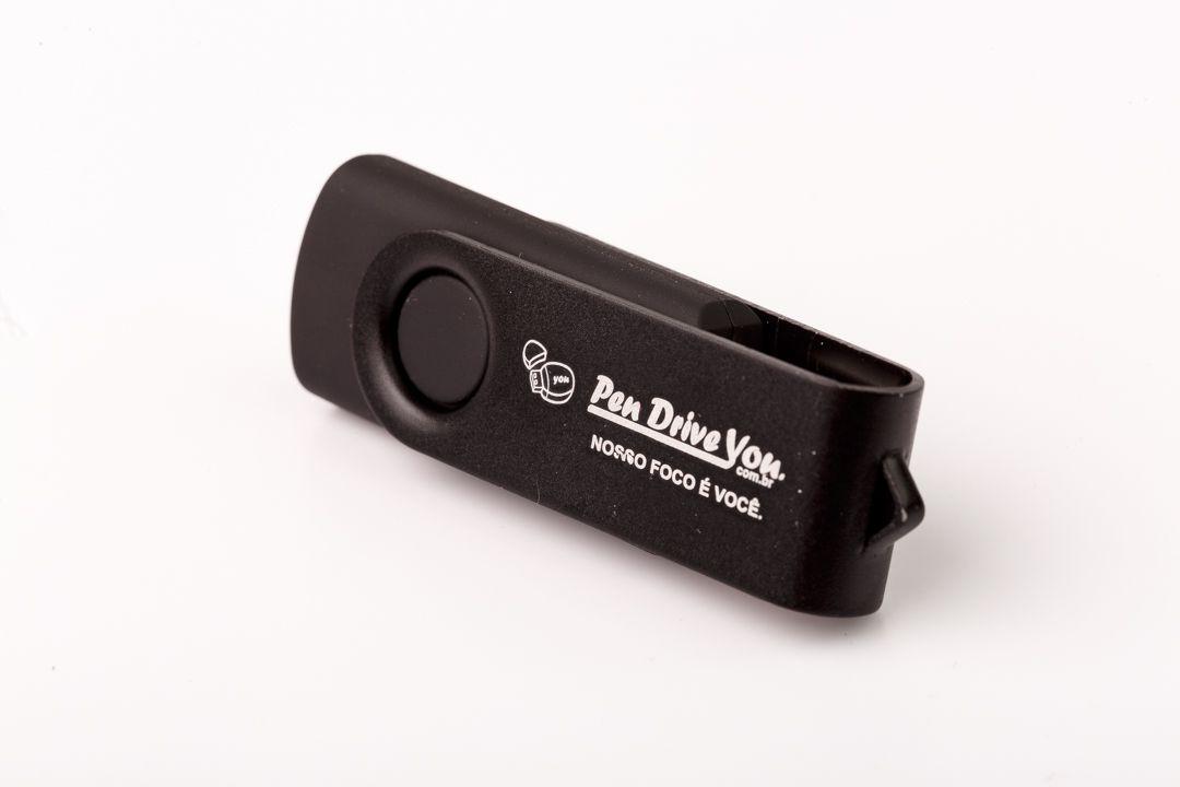 Pen Drive 4GB Giratório Full Color -  Preto Total  Personalizado