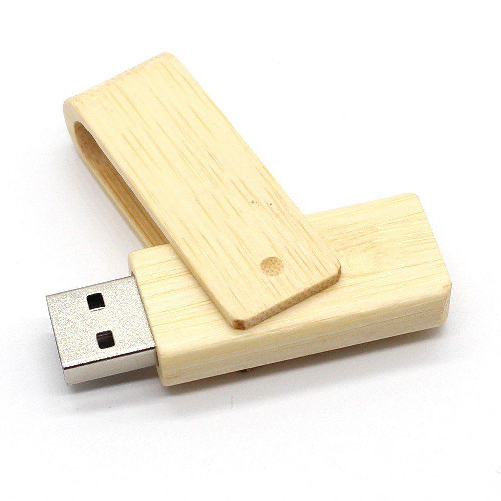Pen Drive 4GB Madeira Giratório Bambú Personalizado
