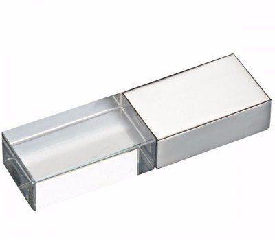 Pen Drive 4GB Metal Prata e Cristal com Tampa Personalizado