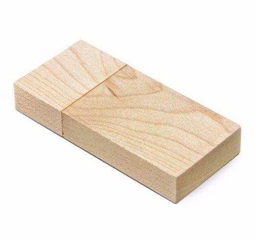 Pen Drive 4GB Retangular Largo de Madeira Bambú ou Maple Personalizado