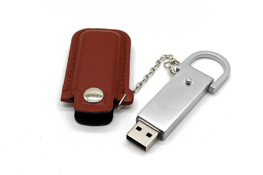 Pen Drive 8GB Couro Bag para Chaveiro Marrom Personalizado