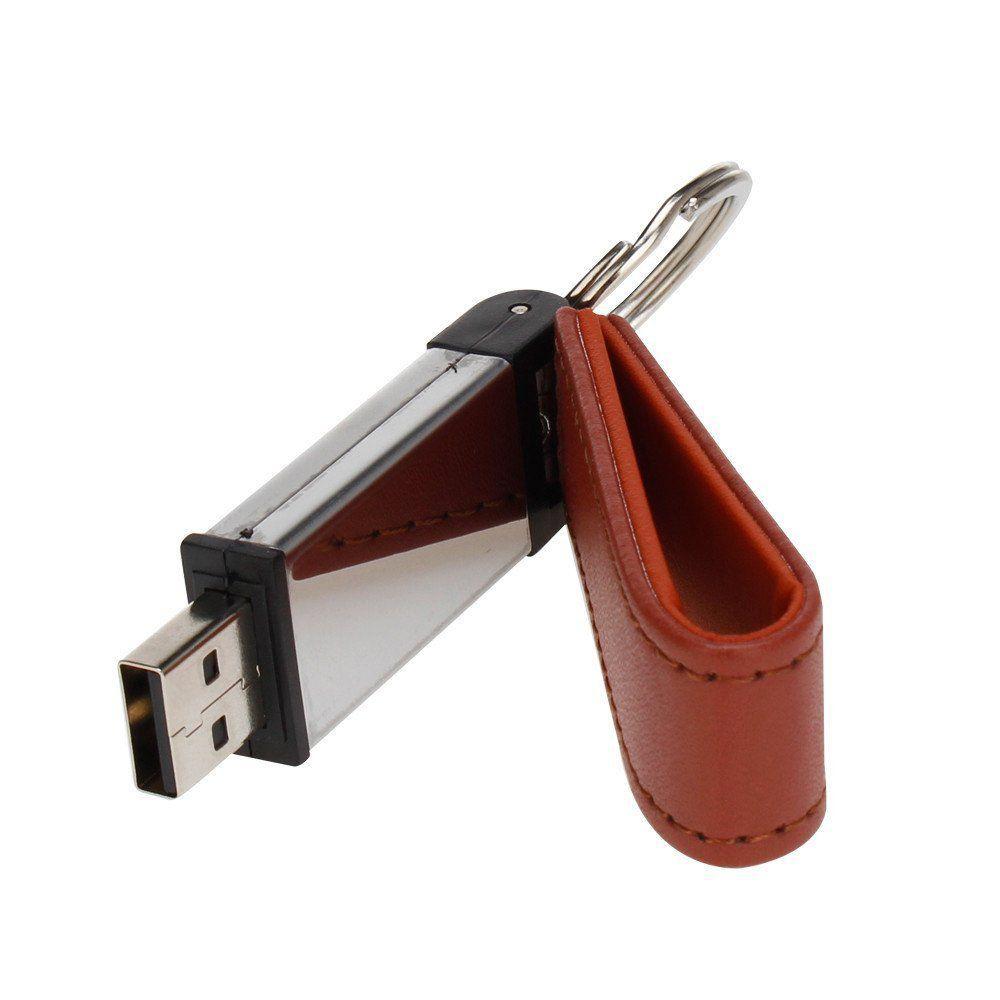 Pen Drive 8GB Couro Retangular Marrom com Tampa Personalizado