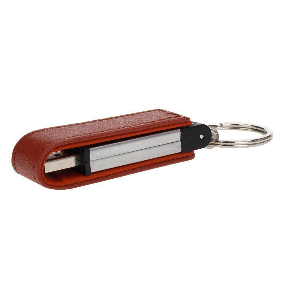 Pen Drive 8GB Couro Retangular Preto ou Marrom com Tampa Personalizado