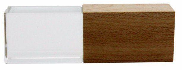 Pen Drive 8GB Cristal Madeira Maple ou Bambú com Tampa Personalizado