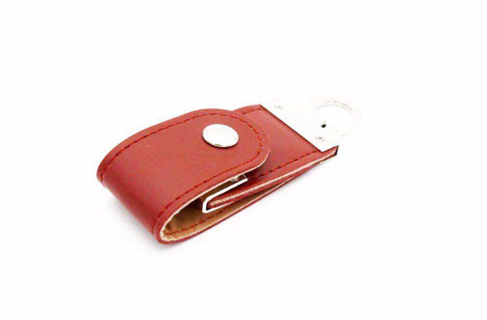 Pen Drive 8GB de Couro Marrom com Argola para utilização como Chaveiro