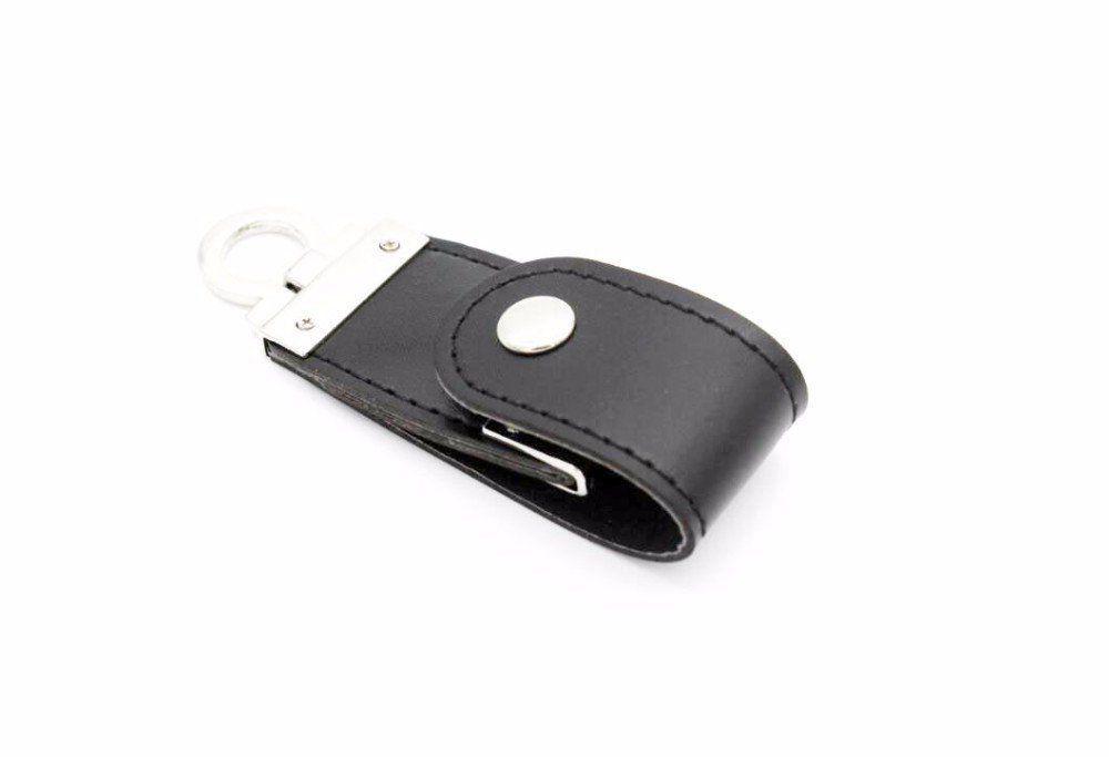 Pen Drive 8GB de Couro  Preto com Argola para utilização como Chaveiro