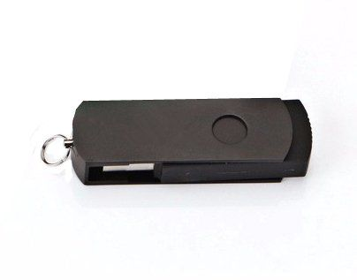 Pen Drive 8GB Giratório Alumínio Todo Preto Personalizado