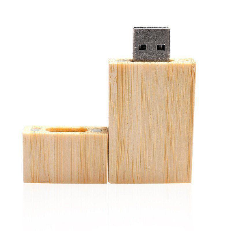 Pen Drive 8GB Retangular Largo de Madeira Bambú Personalizado