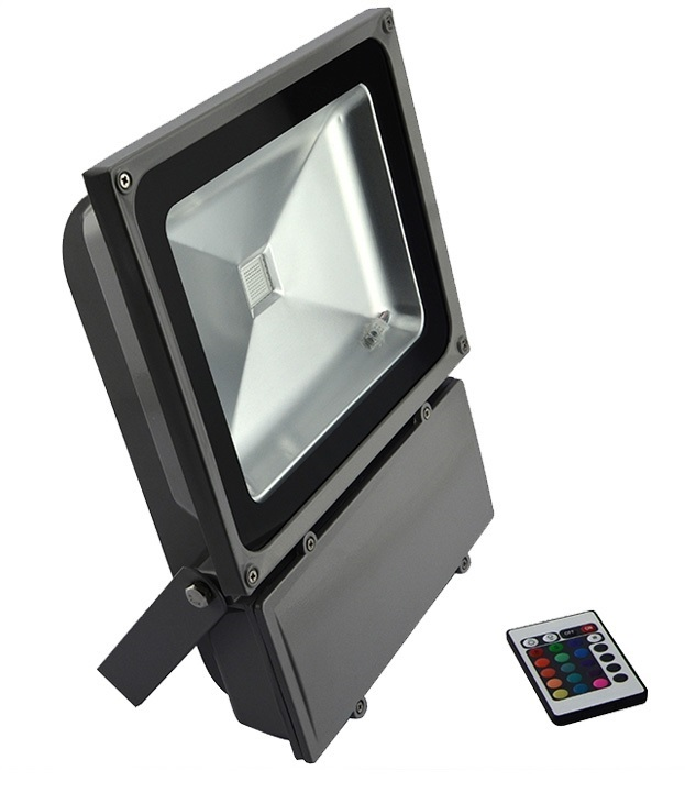 Refletor LED 100Watts RGB  Luz Colorida 16 Cores - Uso Externo