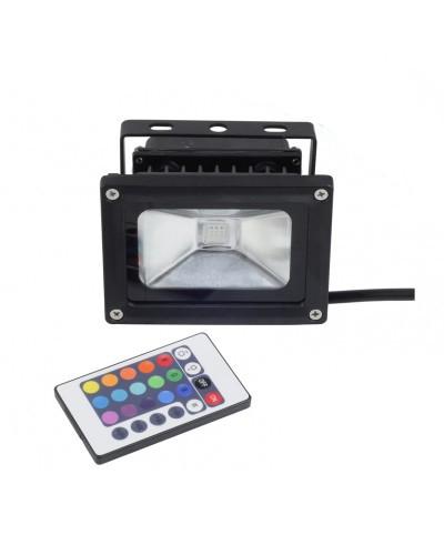 Refletor LED 10Watts RGB  Luz Colorida 16 Cores - Uso Externo