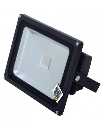 Refletor LED 30Watts RGB  Luz Colorida 16 Cores - Uso Externo